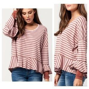 We The Free Round About Striped Tee in pink